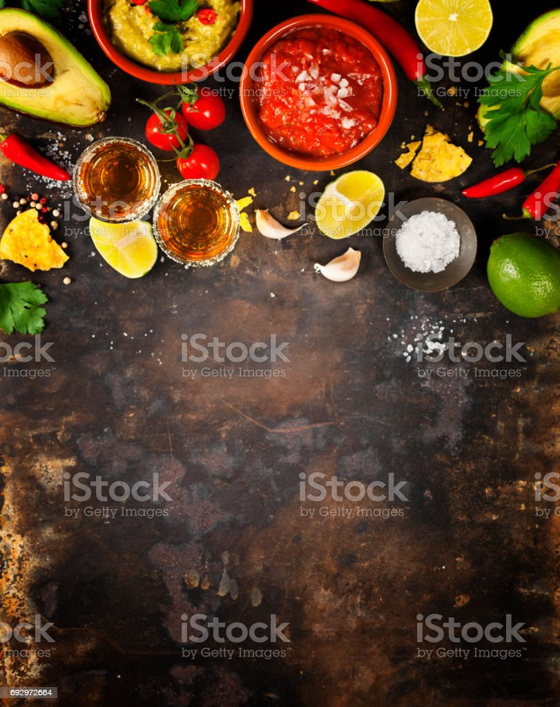 Mexican food and tequila shots stock photo
