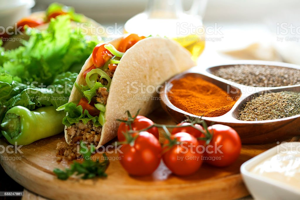 Mexican food -beef tacos stock photo