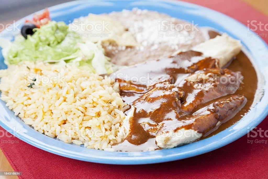Mexican food: chicken mole stock photo