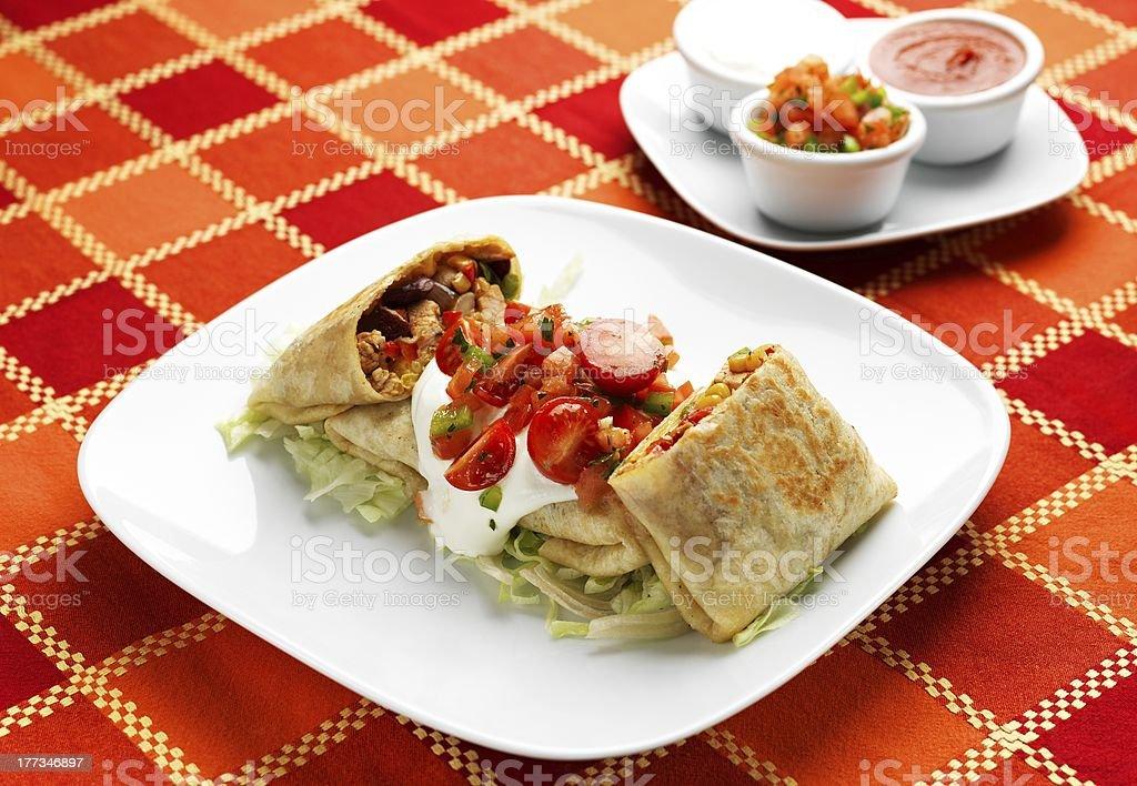 Mexican Food - Chimichanga vegetariana stock photo