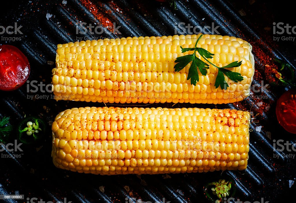 Mexican food, corn on the grill stock photo