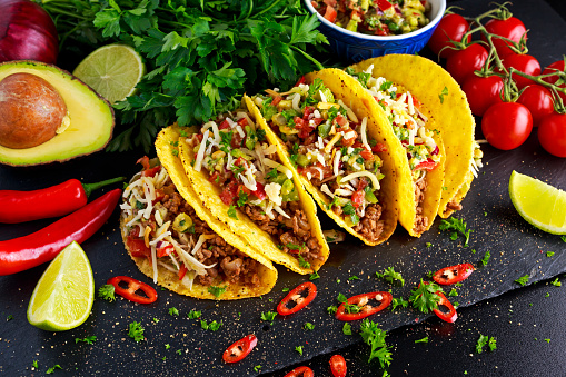 Mexican Food Delicious Taco Shells With Ground Beef And ...