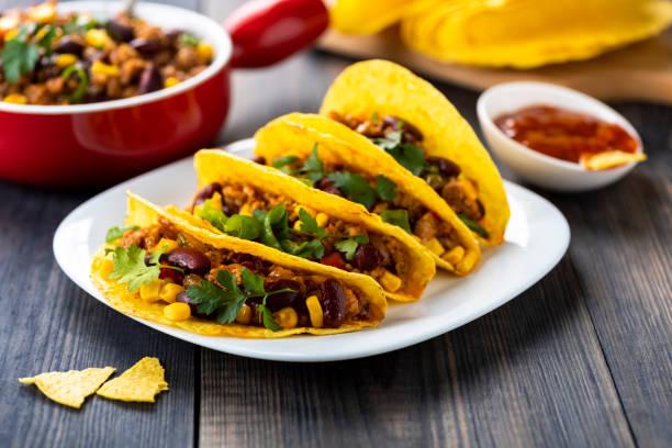 Mexican food - delicious tacos stock photo