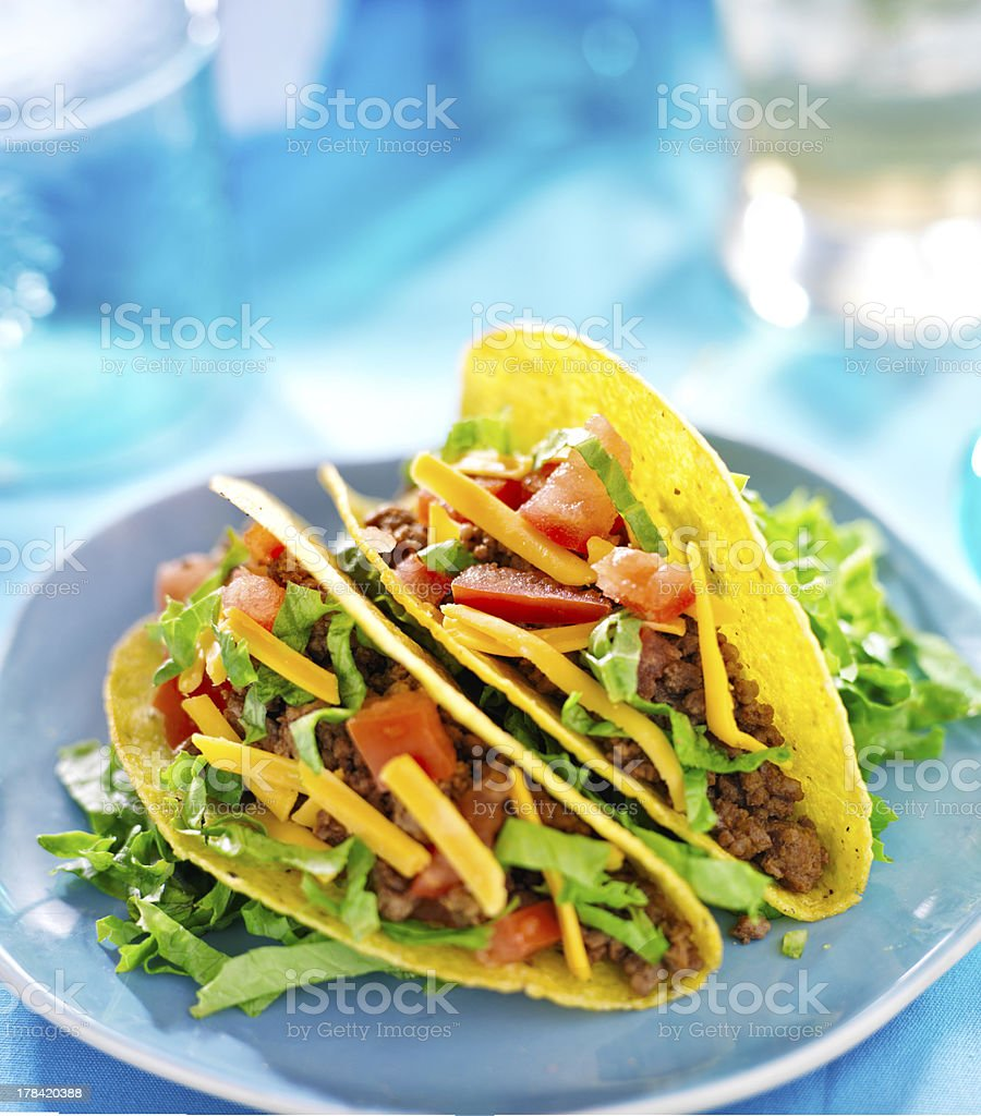 Mexican food - Hard shell beef tacos stock photo