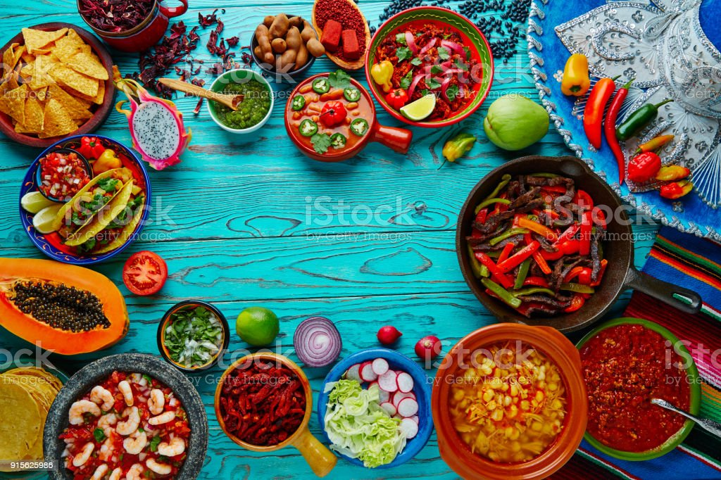 Cuisine mexicaine mélanger fond coloré Mexique - Photo