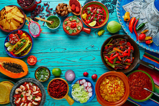 mexican food mix colorful background mexico - mexican food stock photos and pictures