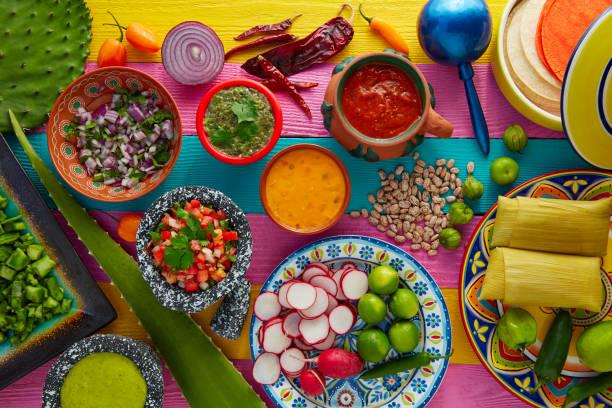 mexikansk mat mix med såser nopal och tamale - cactus lime bildbanksfoton och bilder
