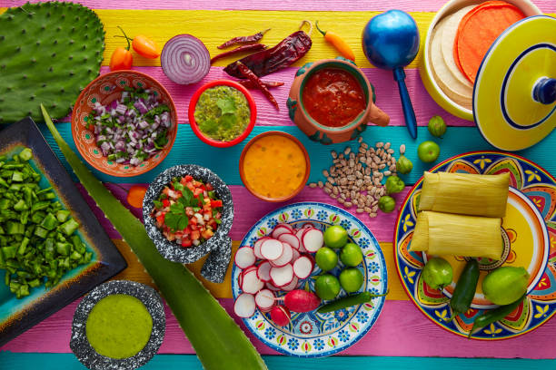 mexican food mix with sauces nopal and tamale - mexican food stock photos and pictures