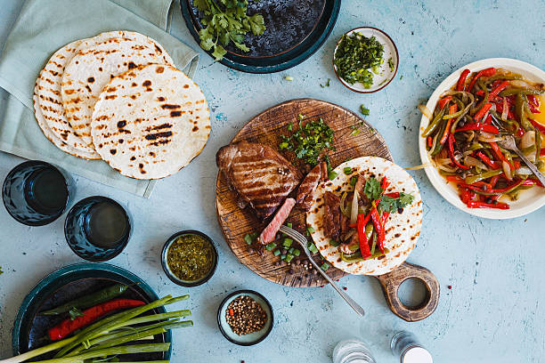 Mexican food table. stock photo