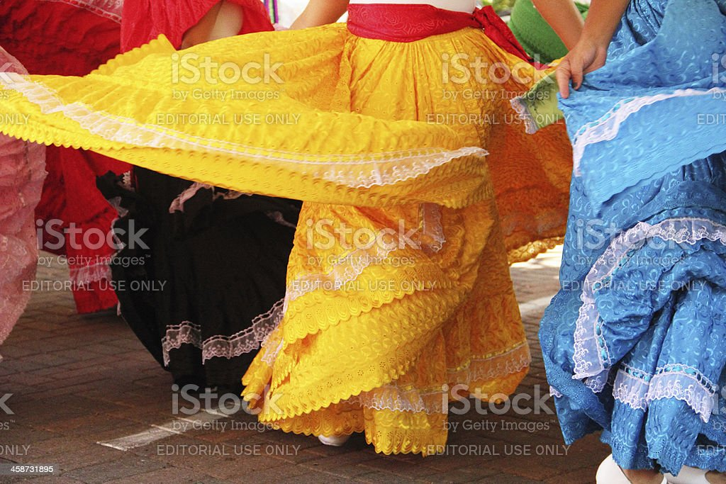 Mexican Girls Dancing Dresses stock photo