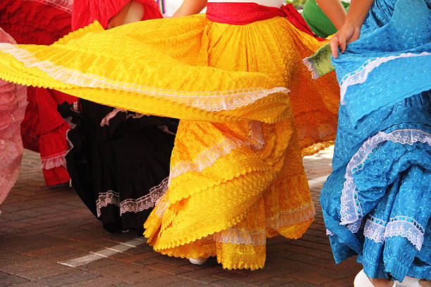 mexican girls dancing dresses - cinco de mayo stock photos and pictures