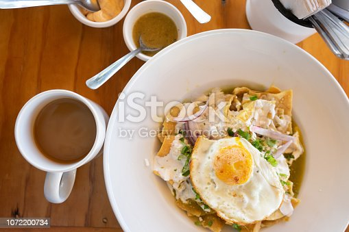 Mexican green chilaquiles for breakfast