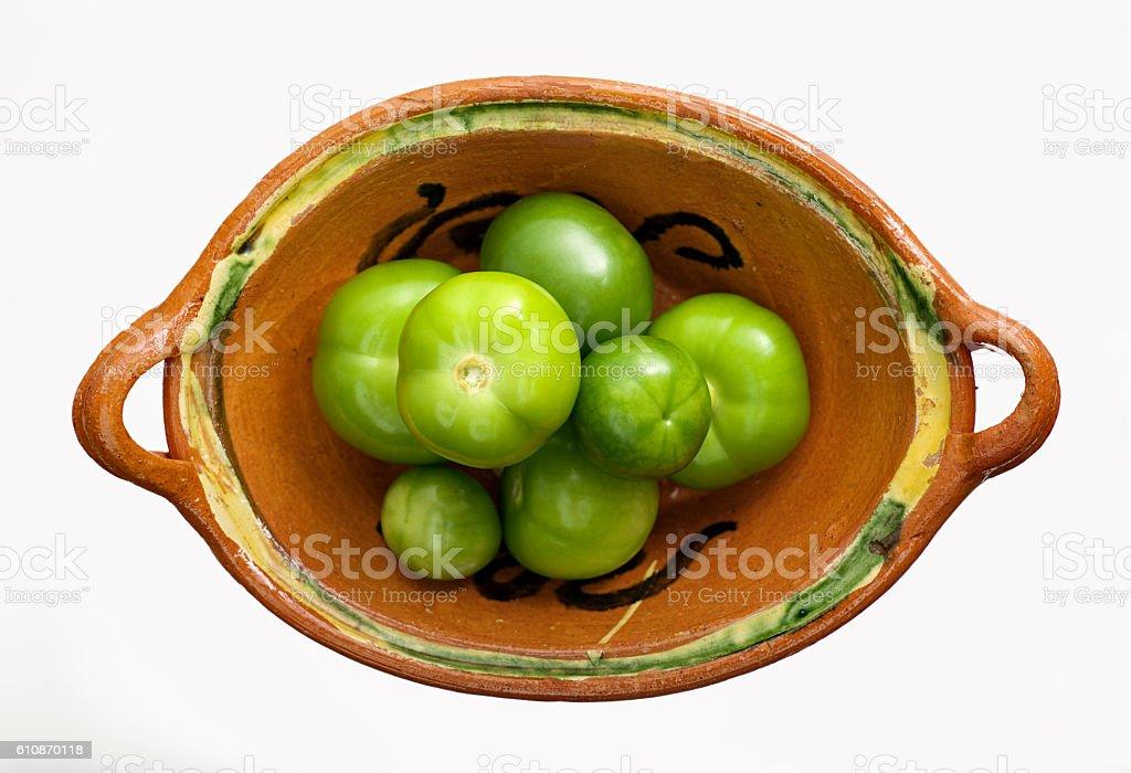 Mexican green tomatoes, tomatillos, Mexican husk tomato stock photo