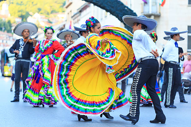 Mexican Group participating in festival Veliko Tarnovo, Bulgaria - July 25, 2015: Mexican folklore group dancing in Veliko Tarnovo. Mexican woman in traditional costume plays traditional dance on