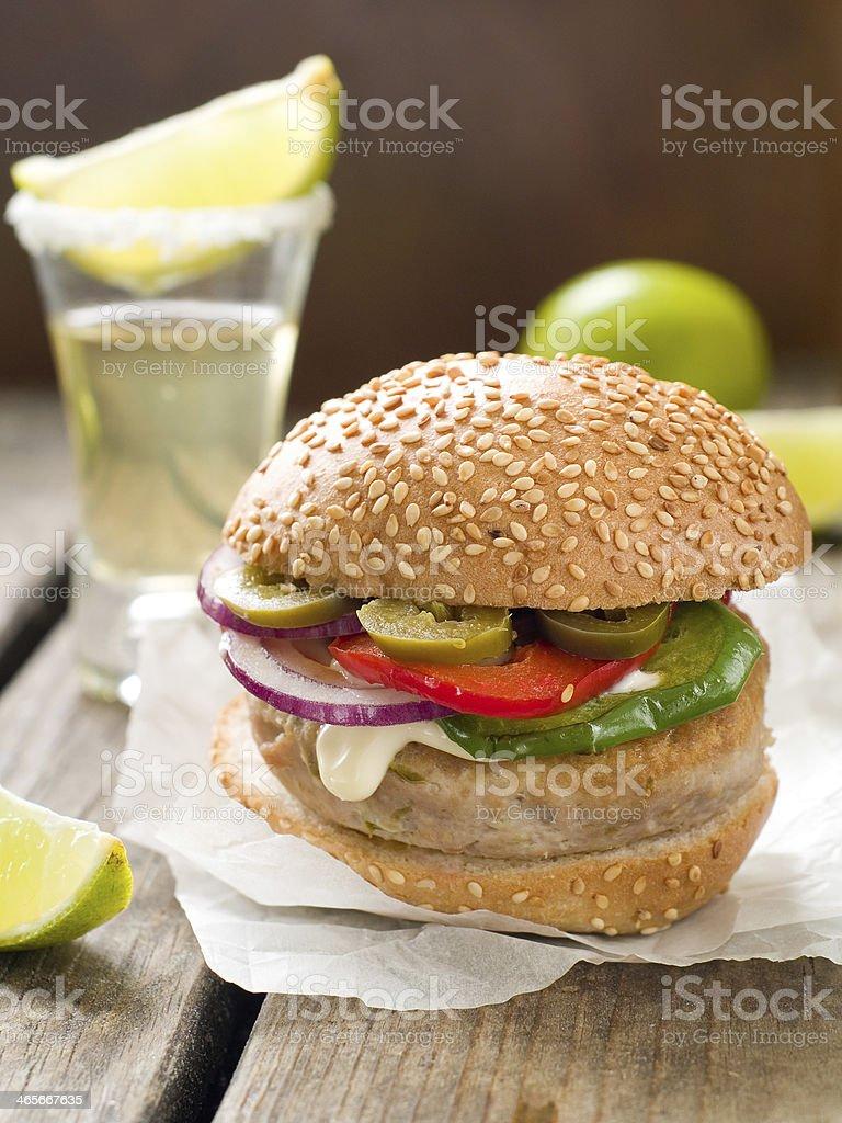 Mexican hamburger royalty-free stock photo