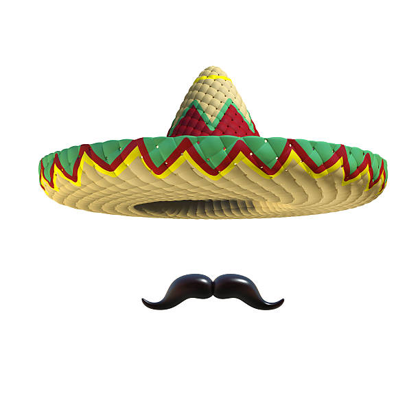 Mexican hat sombrero with mustache Mexican hat sombrero with mustache mexican culture stock pictures, royalty-free photos & images