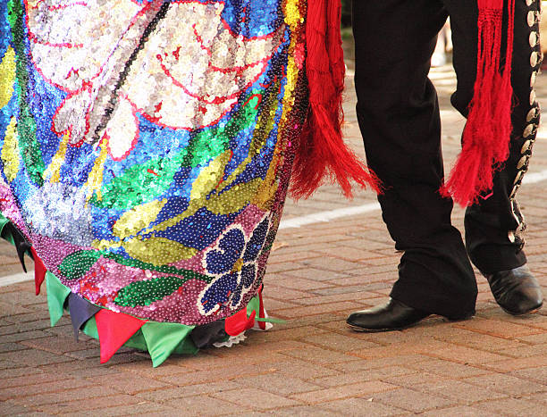 mexican man woman dance - cinco de mayo party stock photos and pictures