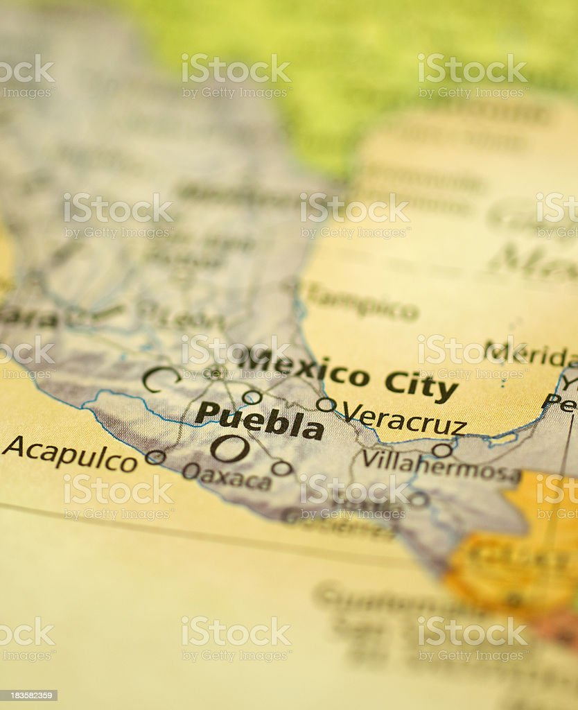 mexican map showing mexico city and acapulco royalty free stock photo