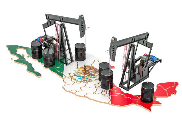 mexikanische karte mit ölfässern und pumpjacks. öl-produktion-konzept. 3d-rendering - opec stock-fotos und bilder