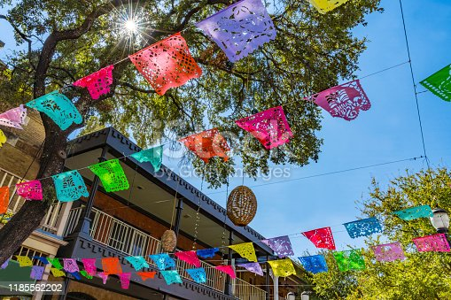 Mexican Market Square Christmas Paper Decorations San Antonio Texas. San Antonio is very close to Mexico culturally with many Mexican restuarants and shops