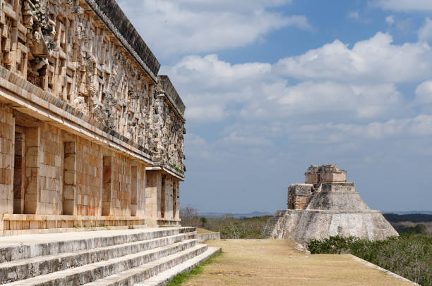 mexican mayan ruins in uxmal - uxmal stock photos and pictures