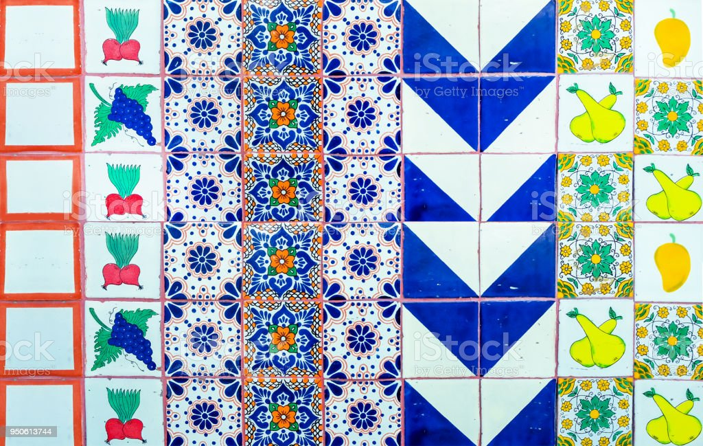 Mexican mix mosaic tile background stock photo