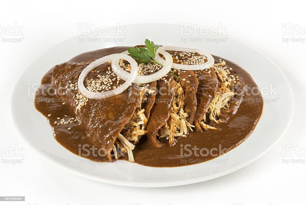 Mexican 'Mole' Enchiladas isolated stock photo