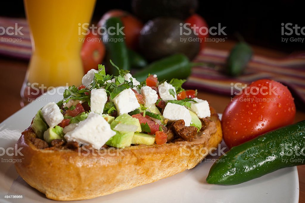 Mexican mollete, torta stock photo