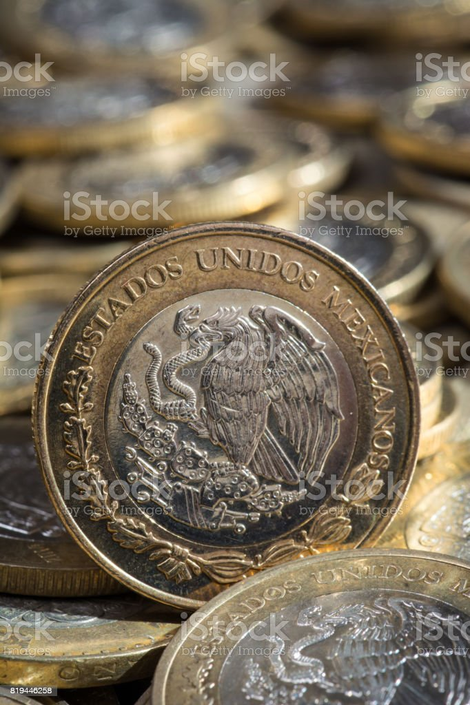 Macro de dinero mexicano stock photo