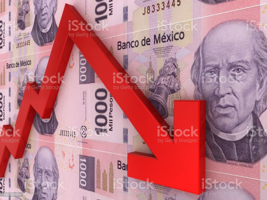 Mexican money peso falling finance crisis Mexican money peso falling finance crisis Banking Stock Photo