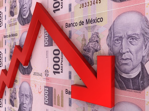 Mexican Money Peso Falling Finance Crisis Stock Photo - Download Image Now