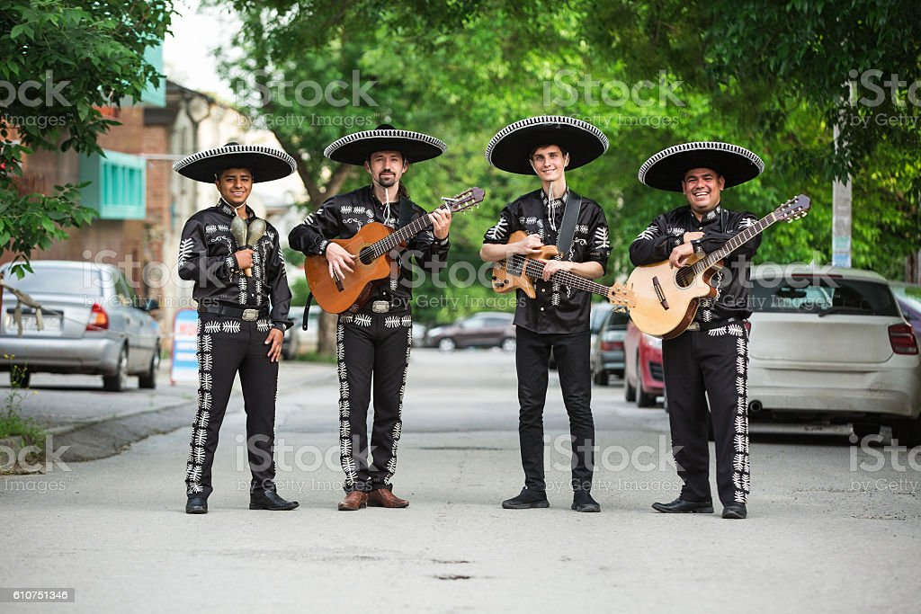 Mexican musicians on the streets. stock photo