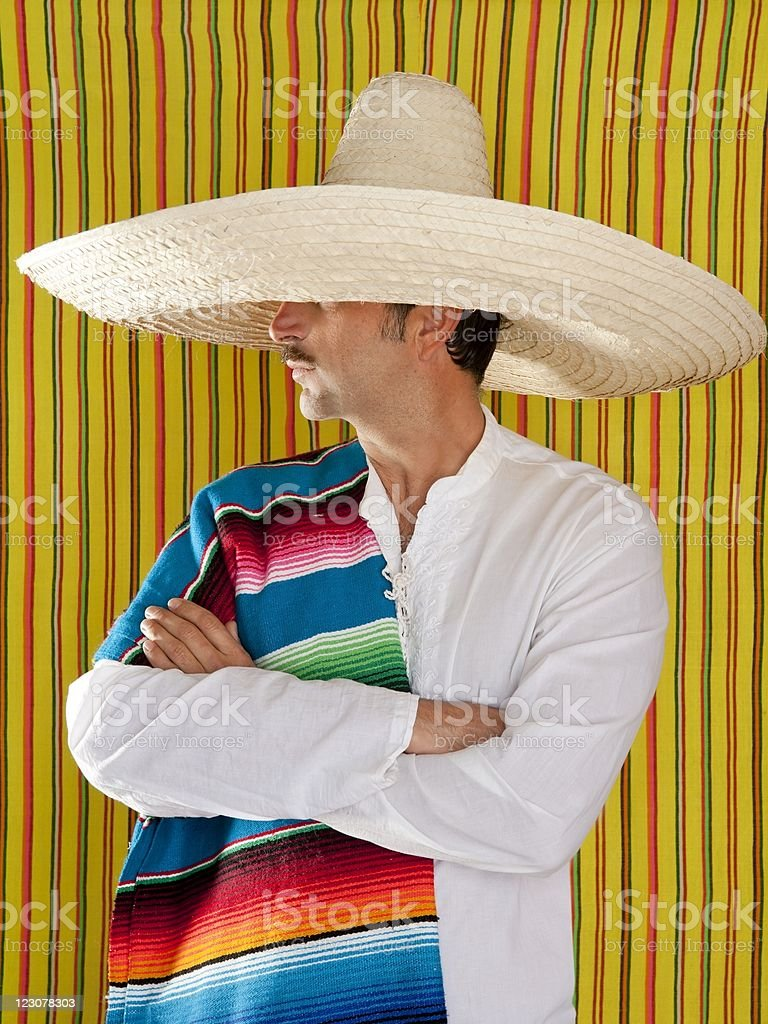 Mexican mustache man sombrero portrait shirt royalty-free stock photo