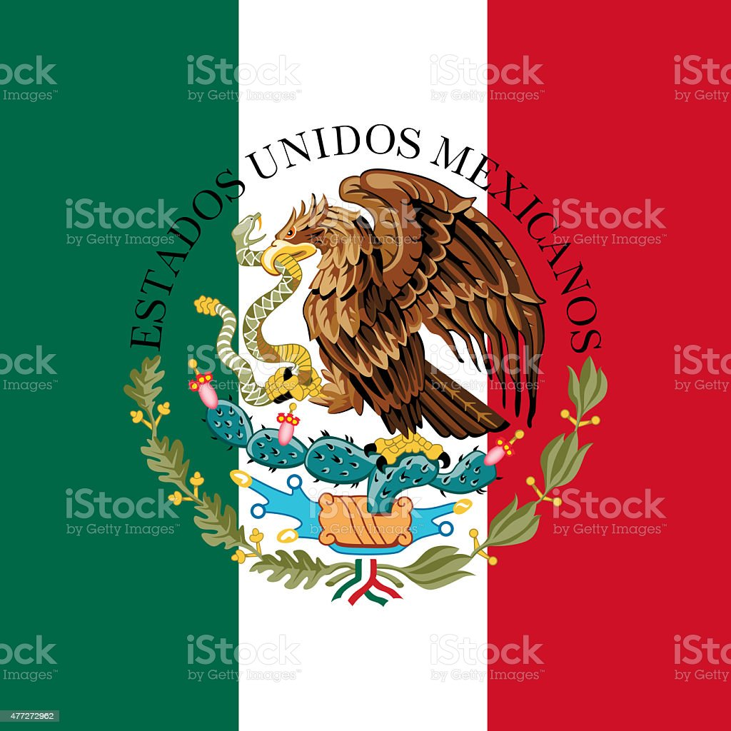 Mexican National flag and coat of arms stock photo