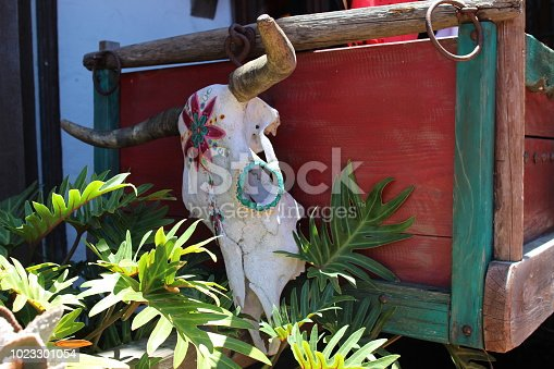 Buffalo skull painted in the Mexican style on the colorful wooden box. Authentic Mexican folk art decorations