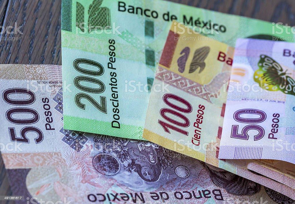 Mexican Pesos Close-Up stock photo