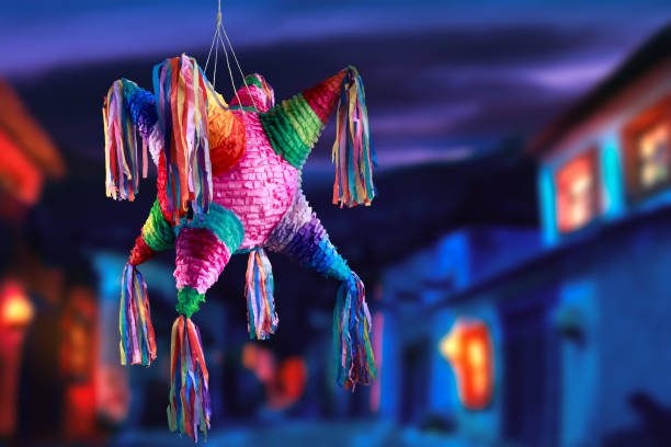 mexican pinata used in posadas and birthdays - mexico stock photos and pictures