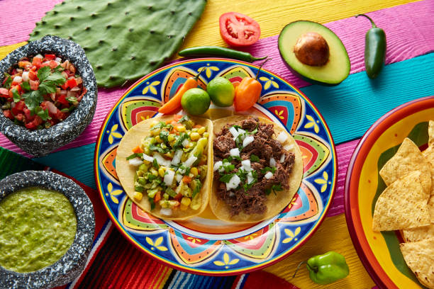 mexican platillo tacos barbacoa and vegetarian - mexican food stock photos and pictures