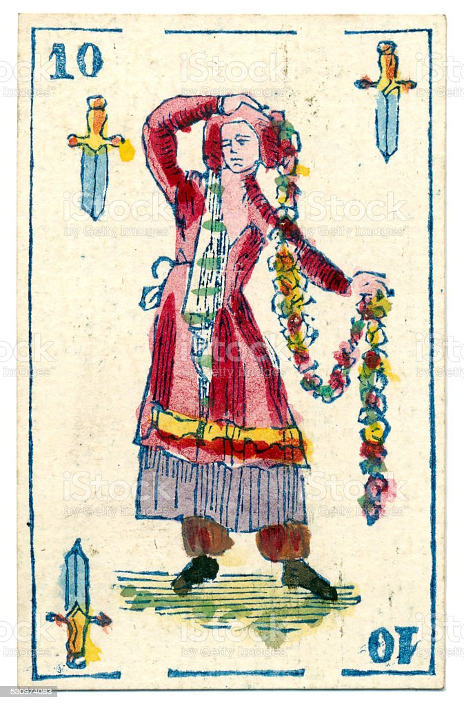 Mexican playing card baraja 1846 Jack of Spades espadas swords stock photo