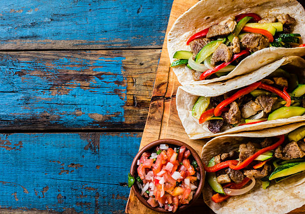 mexican pork tacos with vegetables. top view - mexican food stock photos and pictures