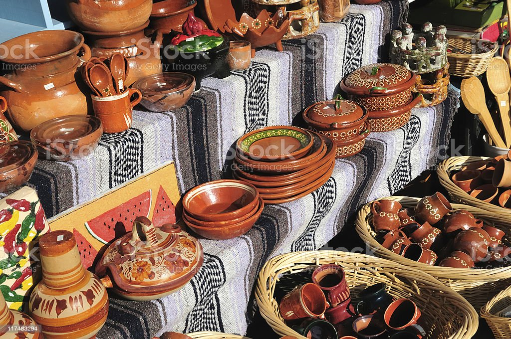 mexican pottery stall royalty-free stock photo