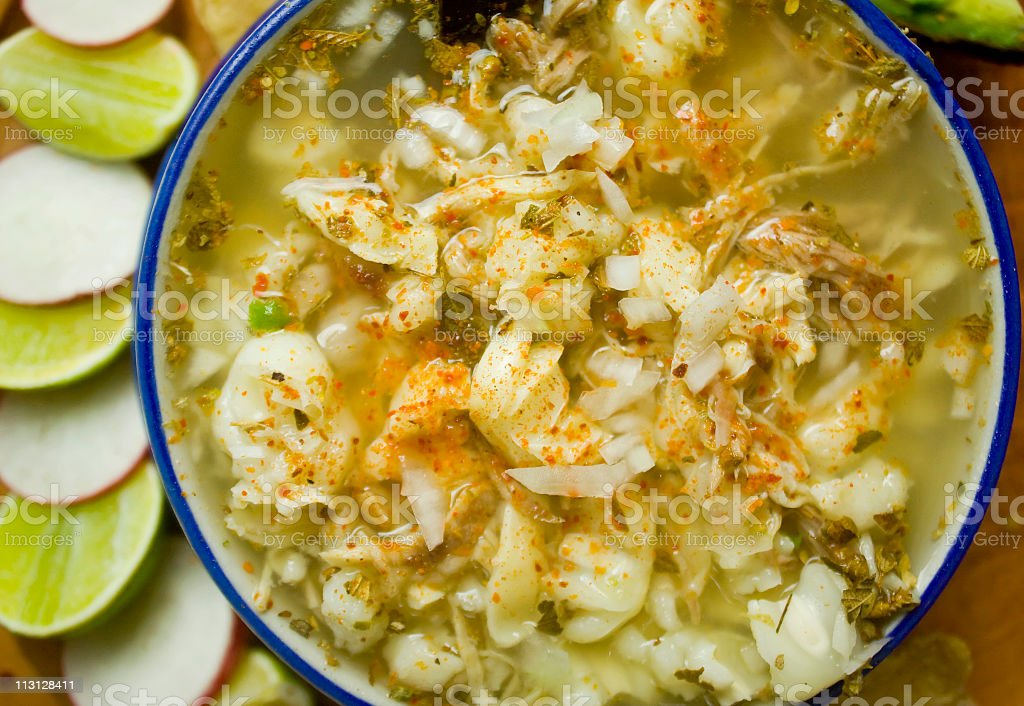 Mexican Pozole Dish Top stock photo