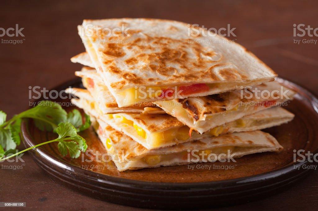 mexican quesadilla with tomato corn cheese stock photo