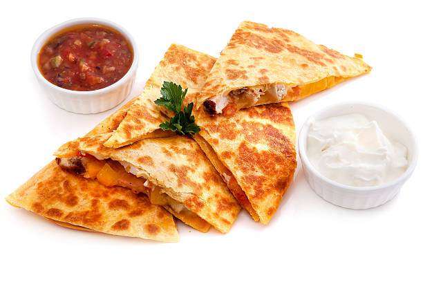 Mexican quesadillas with cheese, vegetables stock photo