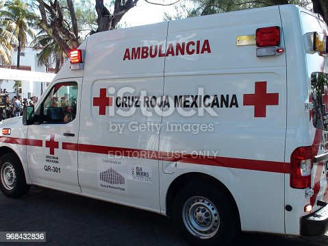istock Mexican Red Cross Ambulance Land Vehicle View In Isla Mujeres Island. Mexico 968432836