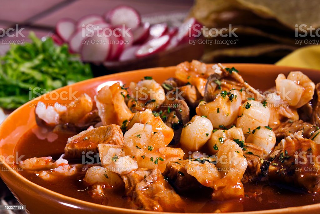 Mexican red pozole stock photo
