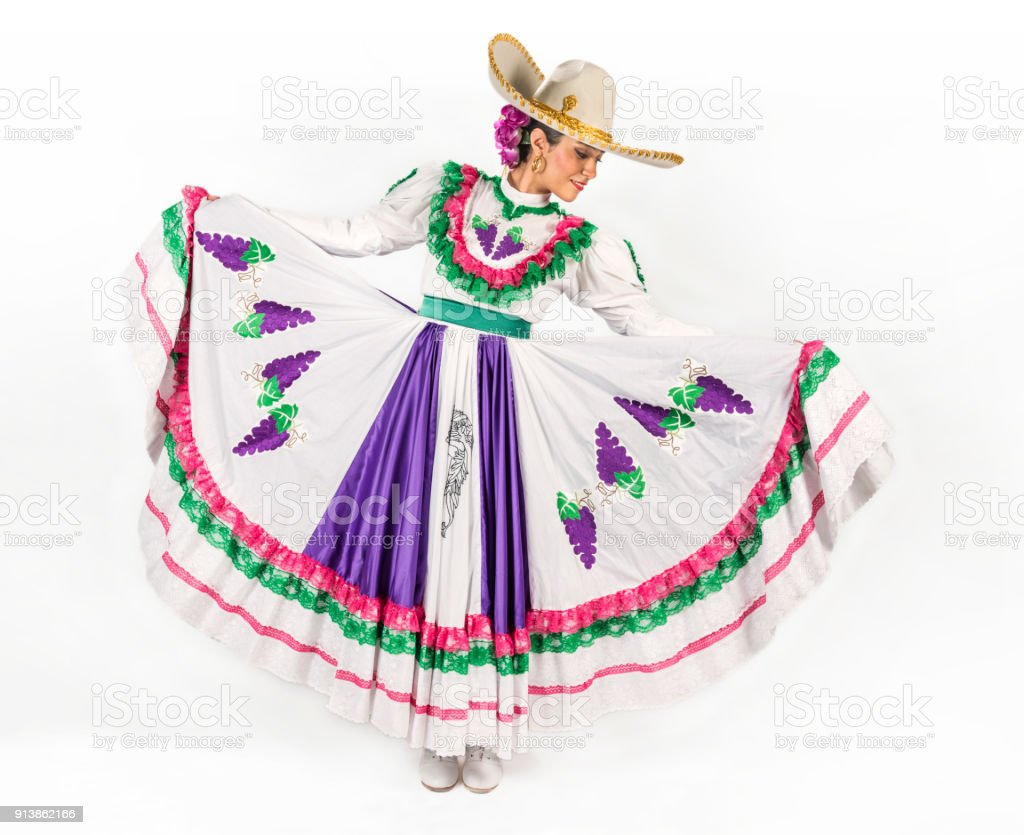 Mexican regional dancing dress stock photo
