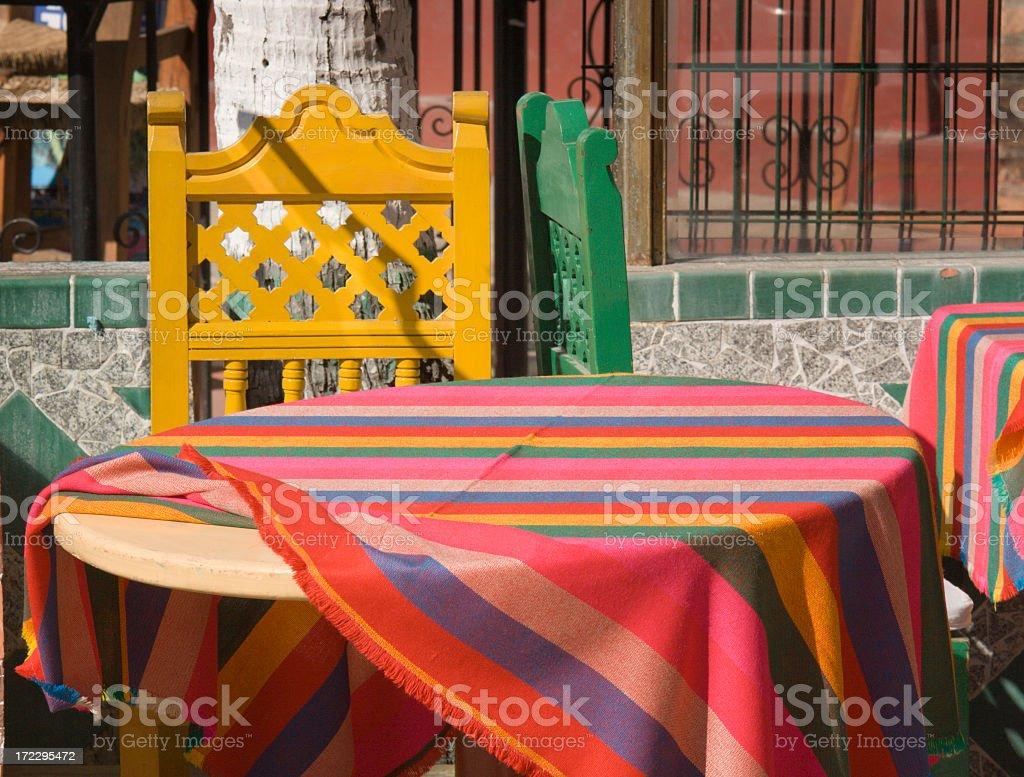 Mexican Restaurant Table at Latin American Cafe, Puerto Vallarta, Mexico stock photo