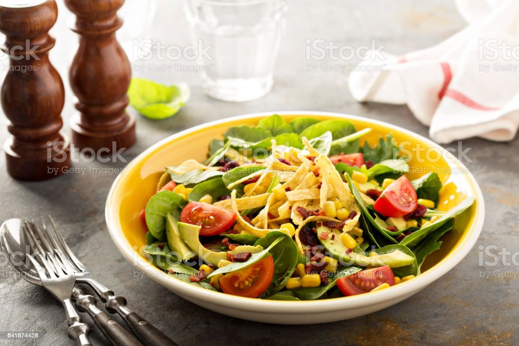Mexican salad with corn and avocado stock photo