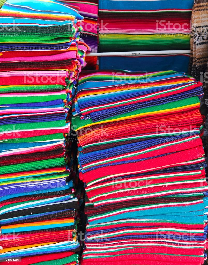 Mexican serape colorful stacked handcrafts royalty-free stock photo